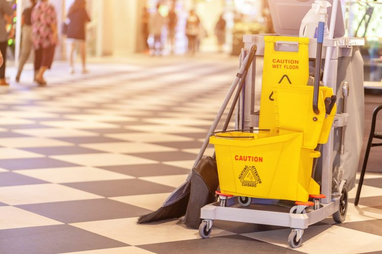 set of cleaning equipment in the Terminal 21 Pattaya shopping mall, Thailand